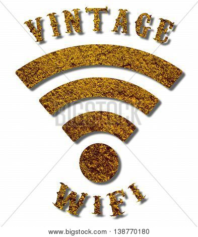 Vintage WiFi logo 3D illustration with a grungy texture and a sepia colour on an isolated white background with a clipping path