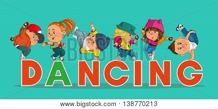 Funny cartoon. Vector illustration. Word hip-hop with colorful and happy funny dancers.