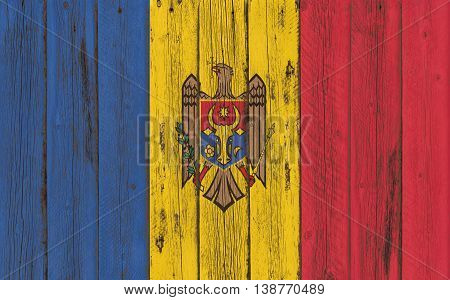 Flag of Moldova painted on wooden frame