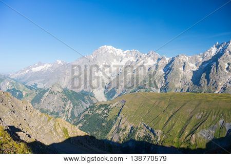 Majestic Mont Blanc Massif And Lush Green Alpine Valley