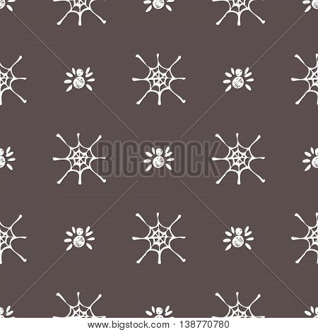 Seamless vector pattern with insects, symmetrical black and white background with  spiders and spiders web. Hand sketch drawing. Imitation of ink pencilling. Series of Insects and Hand Drawn Patterns.