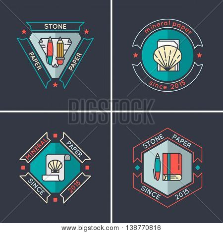 Logo for business for the production of stone paper paper from waste marble. Vector logo in a modern linear style.