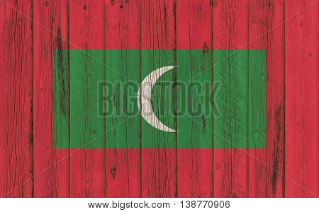 Flag of Maldives painted on wooden frame