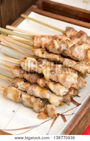 Thai Style Grill Pork In Bamboo Stick
