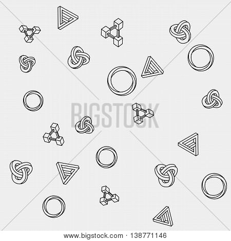 Pattern geometric seamless simple monochrome minimalistic pattern of impossible shapes, rectangles, triangles, rounds.