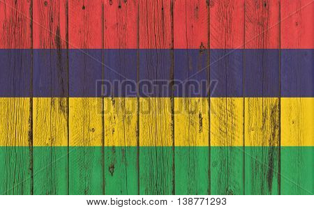 mauritius flag on old wood texture background - old wood background - Text