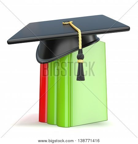 Graduation cap on books. 3D render illustration isolated on white background