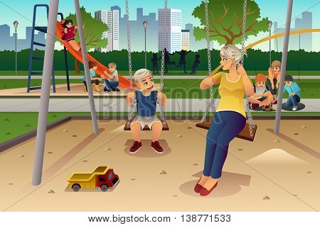 A vector illustration of mother playing on swing with her son at the playground