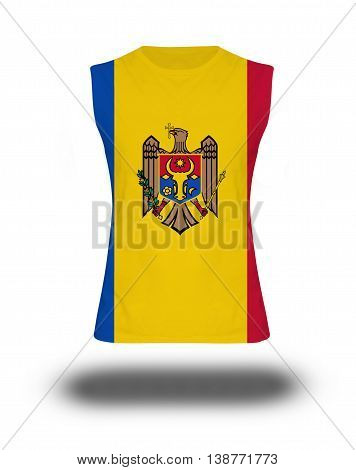 Athletic Sleeveless Shirt With Republic Of Moldova Flag On White Background And Shadow