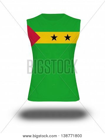Athletic Sleeveless Shirt With Sao Tome & Principe Flag On White Background And Shadow