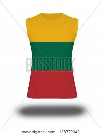 Athletic Sleeveless Shirt With Lithuania Flag On White Background And Shadow