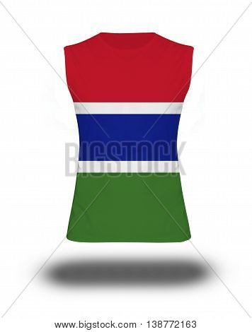 Athletic Sleeveless Shirt With Gambia Flag On White Background And Shadow