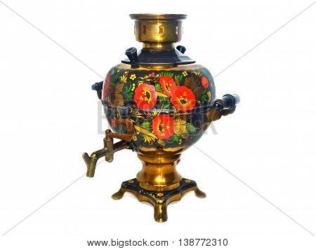 still life of an old russian samovar isolated on white background