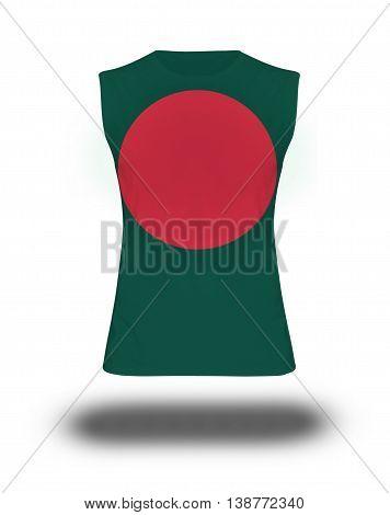 Athletic Sleeveless Shirt With Bangladesh Flag On White Background And Shadow