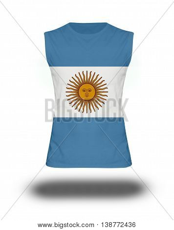 Athletic Sleeveless Shirt With Argentina  Flag On White Background And Shadow