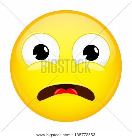What emoji. Shock emotion. Surprise emoticon. Vector illustration smile icon.