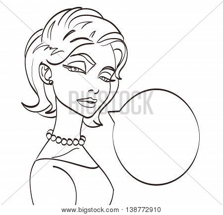 lineart vector woman talk picture. Pop art style, eps 10.