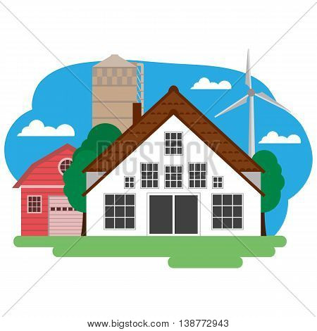 Vector illustration of farm building and related items. Grouped for easy editing.
