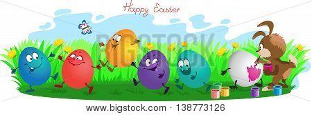 Funny cartoon. Vector illustration. Rabbit paints easter eggs on grass.