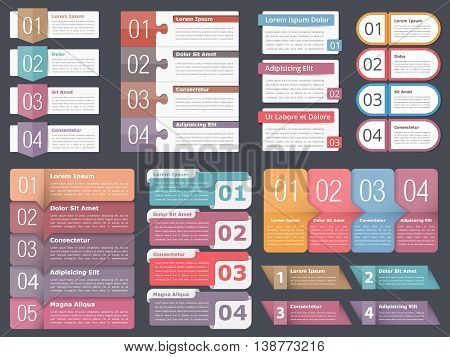 Infographic templates with numbers and text, business infographics elements set, workflow process, steps or options, vector eps10 illustration