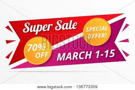 Super sale and special offer banner, vector eps10 illustration