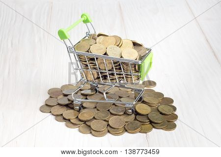 Basket with Golden coins on a wooden table