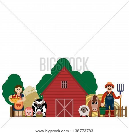 Vector illustration of family farmers and his animals. Grouped for easy editing.