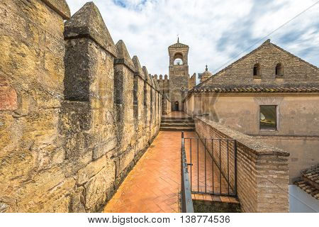 The Alcazar de los Reyes Cristianos with the main tower of the fortress in Cordoba, Andalusia, Spain.