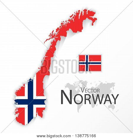 Norway ( Kingdom of Norway ) ( flag and map ) ( transportation and tourism concept )