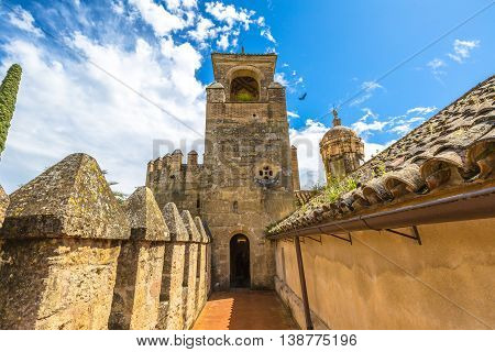 The main tower of the military fortress, Alcazar de los Reyes Cristianos, in Cordoba, Andalusia, Spain.