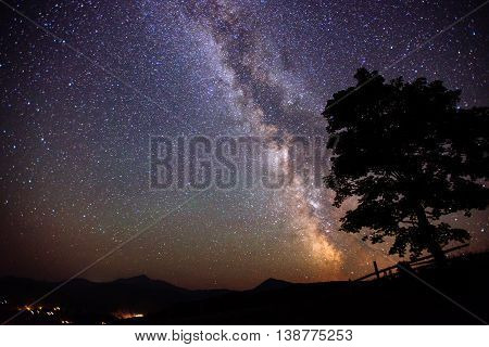 deep sky astrophoto. fantastic meteor rain and mountains.