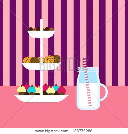 Cookies and milk Vector illustration Shelves of cookies and cakes and glass of milk Flat design