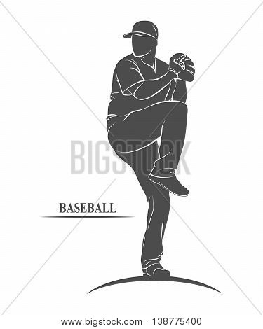 Icon baseball player in the cast.  illustration.
