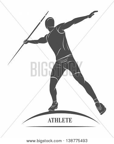 Athlete throwing javelin Throw spears icon.  illustration.