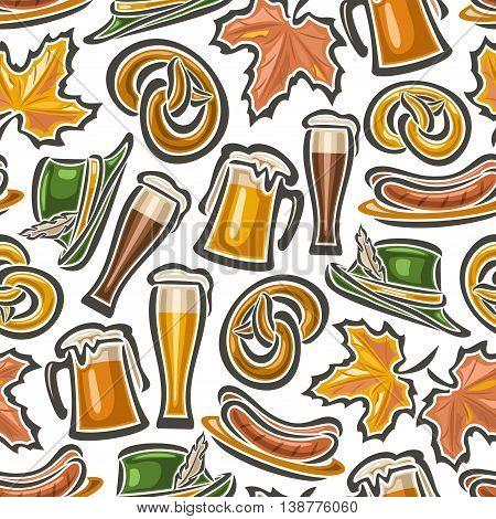 Vector background bavarian seamless pattern oktoberfest. White Background  - symbols Oktoberfest: glass mug beer, pretzel, tyrolean hat, maple leaf, grill sausages. Textile tablecloth Bayern