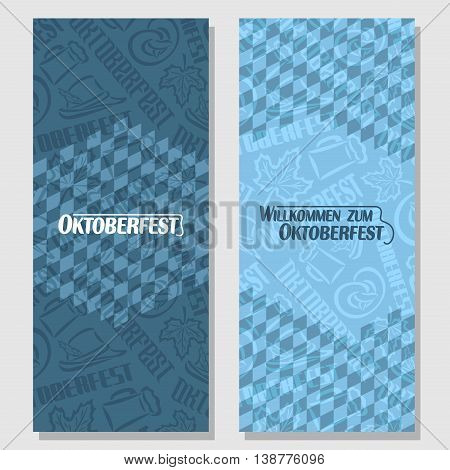 Vector vertical banners bavarian pattern flag oktoberfest. On Background blue rhombus diamond ticket invitation - symbols Oktoberfest: mug beer, pretzel, tyrolean hat, maple leaf. Flyer bavaria fest