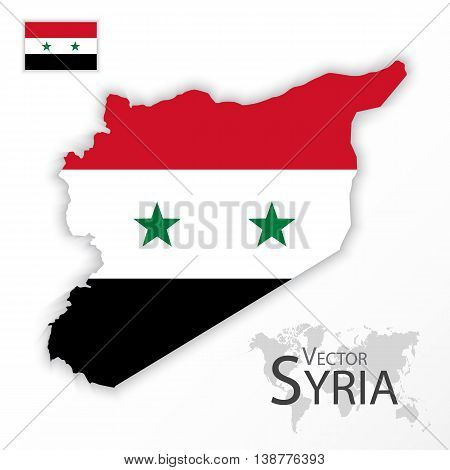 Syria ( Syrian Arab Republic ) ( flag and map ) ( transportation and tourism concept )