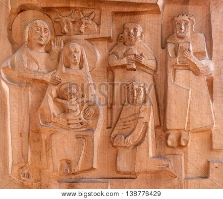 KLEINOSTHEIM, GERMANY - JUNE 08: Nativity Scene, Adoration of the Magi, Saint Lawrence church in Kleinostheim, Germany on June 08, 2015.