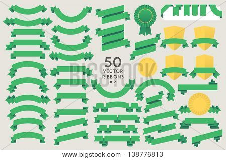 Set of 50 vector Ribbons. Flat design elements collection for Infographic, Print, Web, etc.. Vector Graphics