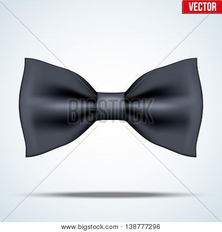Realistic silk classic black bow tie. Fashion and trendy symbol. Editable Vector illustration Isolated on background.