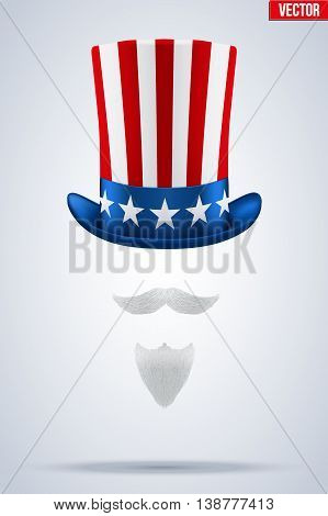 Uncle Sam Symbol. Hat with veard and mustache. Concept of American Freedom and liberty. Vector Illustration Isolated on white background.