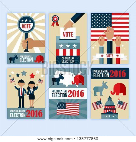 Presidential election poster desgn set. Presidential election voting concept for web and graphic design