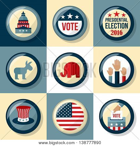 Presidential election badge set. Presidential election voting concept for web and graphic design