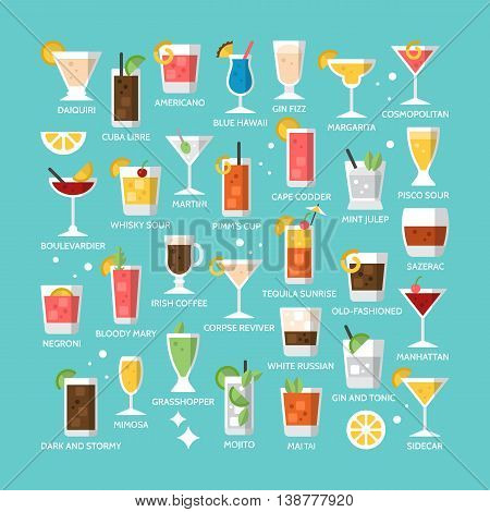 Cocktail alcohol mixed drink icons for menu web and graphic design