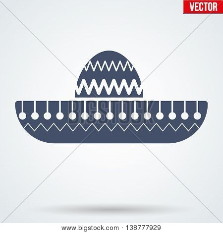 Sombrero Mexican hat symbol. Vector Illustration isolated on background.