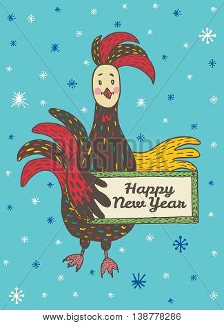 2017 Happy New Year greeting card with hand drawn Rooster holding a plate. Vector hand drawn illustration of Rooster on blue background.