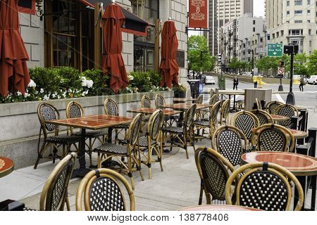 New York NY USA May 21 2015 An outdoor cafe on Park Ave in New York in mid-morning