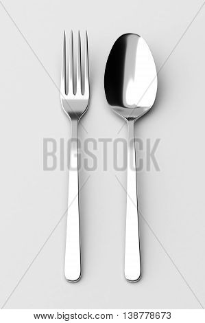 Fork and spoon. Photo realistic 3D illustration. Cutlery, kitchen silverware. For use in menu, restaurant printables, web site.