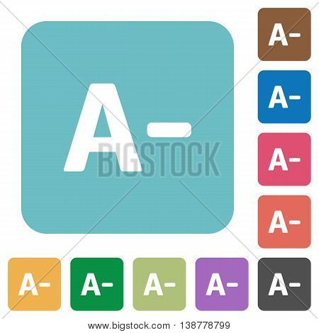 Flat decrease font size icons on rounded square color backgrounds.