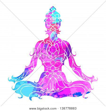girl in lotus pose over ornate round mandala pattern. Yoga concept. Decorative design for cover, t-shirt, hippie poster, flyer. Astrology, sacred geometry. Psychedelic hypnotic colors.